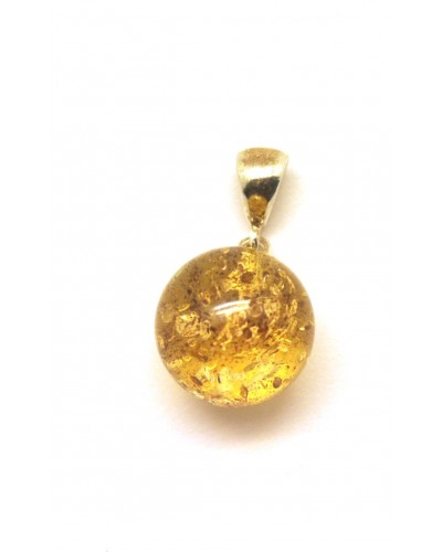 Round transparent Baltic amber pendant 14,5 mm.
