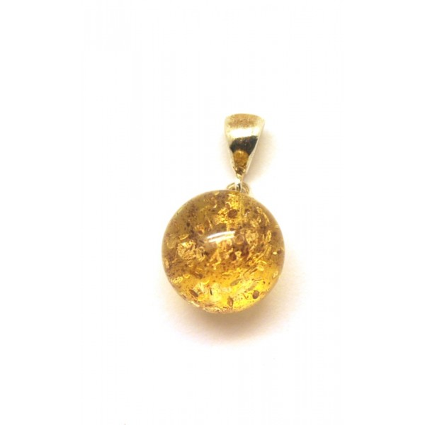 Amber pendants | Round transparent Baltic amber pendant 14,5 mm.