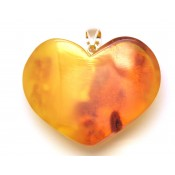Raw heart shape Baltic amber  pendant