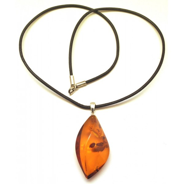 Baltic amber pendant with leather-AP1417