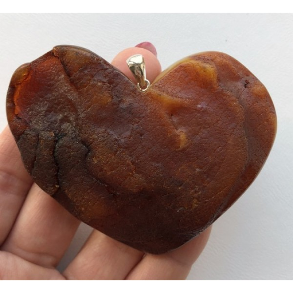 Large raw amber heart pendant-AP1448