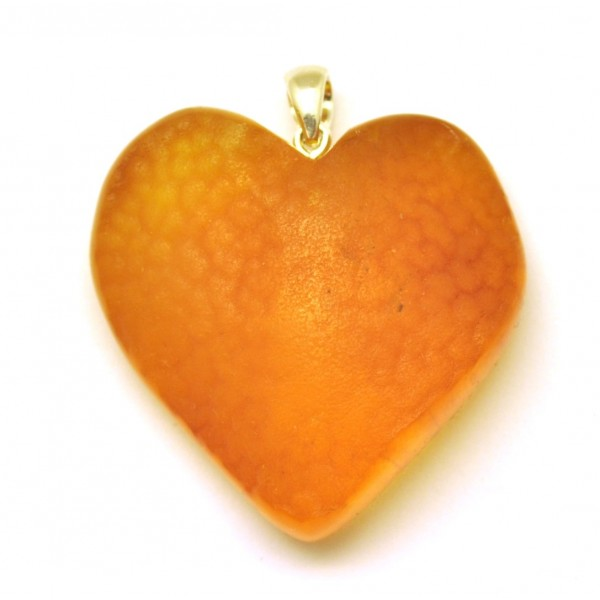 Raw heart shape Baltic amber pendant-AP1425
