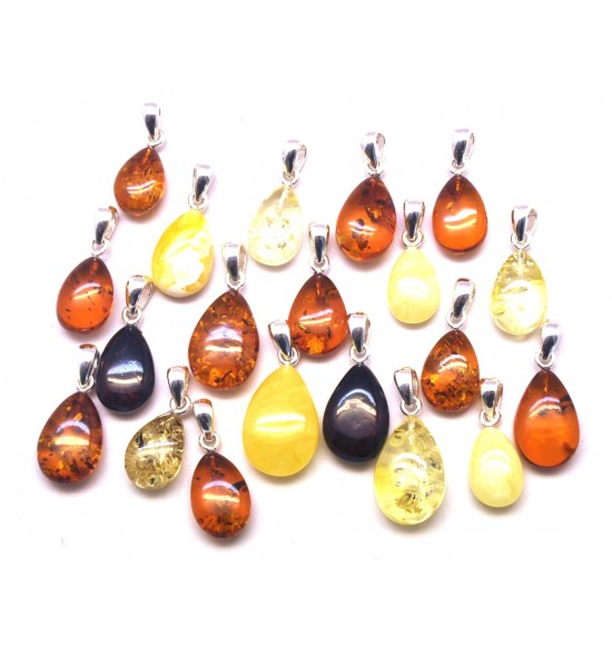 Lot of 20  Baltic amber drop pendants