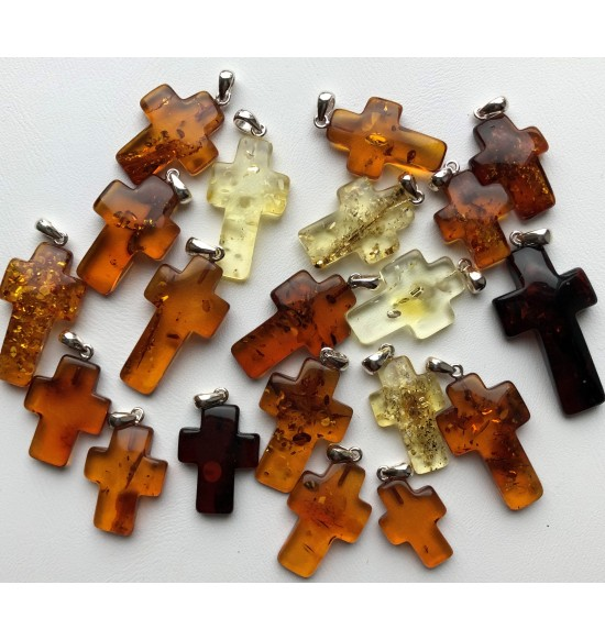 Lot of 20 amber cross pendants