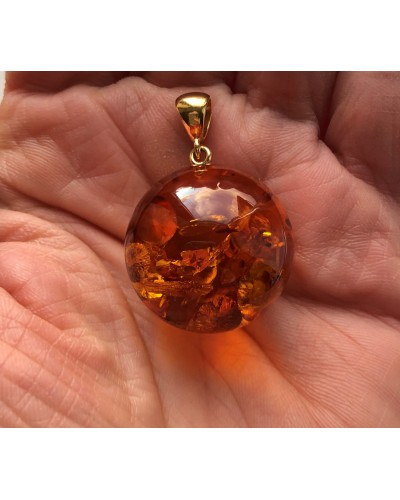 Big amber round pendant 25 mm