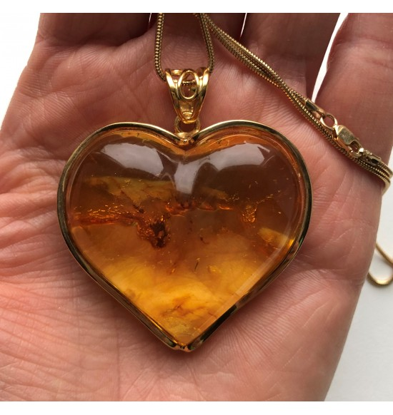 Amazing natural Baltic amber heart pendant