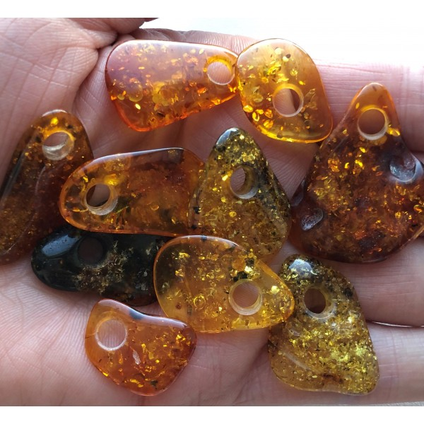 10 Baltic amber pendants with hole-AP1506