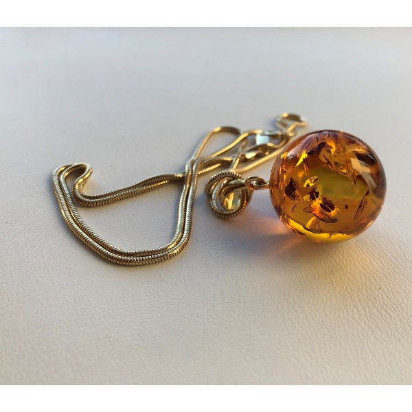 Amber pendants | Round bead Amber pendant with chain