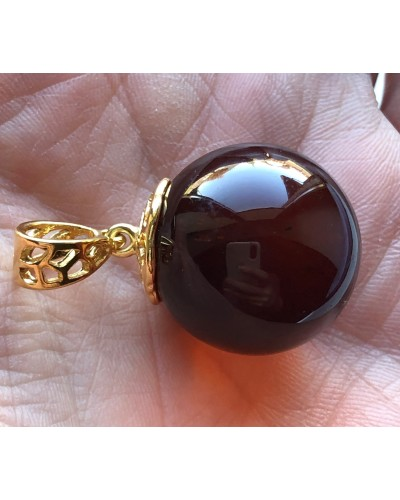 Big amber round pendant 22 mm
