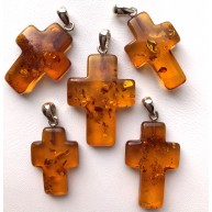 Baltic Amber cross pendants 5pcs