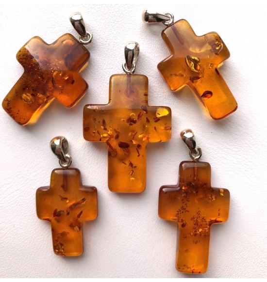 Baltic Amber cross pendants 5pcs
