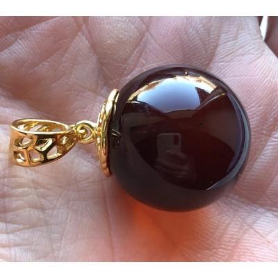 Big amber round pendant 22 mm-AP1504