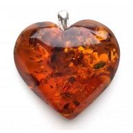 Genuine Baltic Amber Heart Pendant, Hand Made from Genuine Baltic Amber 19g
