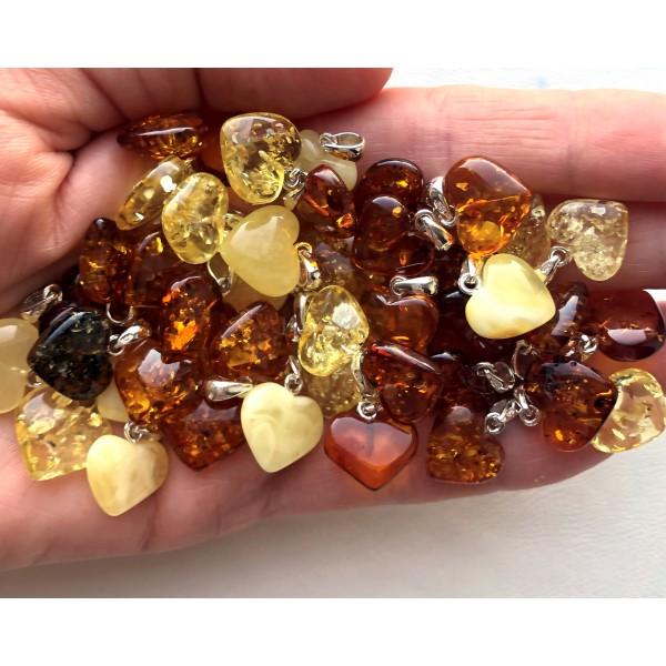 Genuine Baltic Amber Heart Pendants 50g -