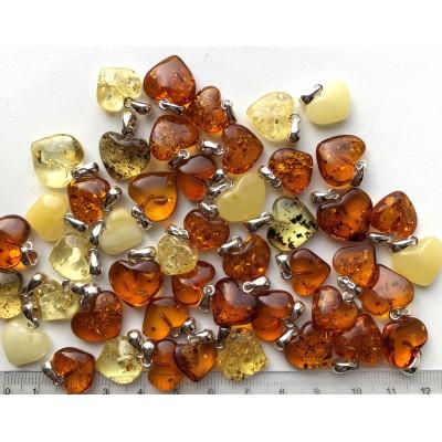Genuine Baltic Amber Heart Pendants 50g