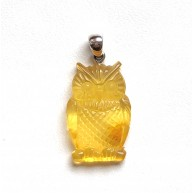 Genuine BALTIC AMBER owl pendant