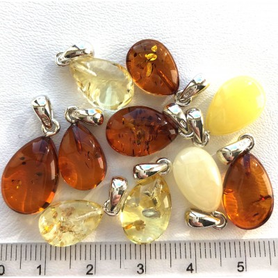 Lot of 10 Genuine BALTIC AMBER Silver Pendants -AP1511