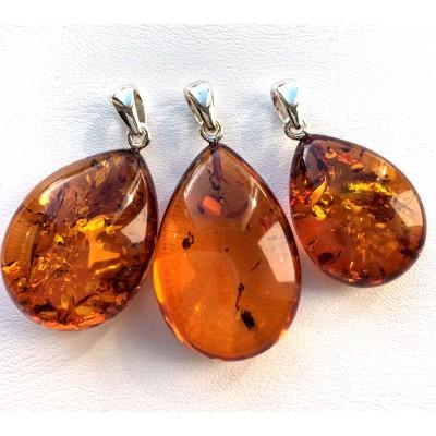 Lot of 3 Baltic amber drop pendants