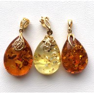 Lot of 3 Genuine BALTIC AMBER drop Pendants