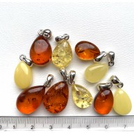 10 pcs Genuine BALTIC AMBER Silver 925* Pendants