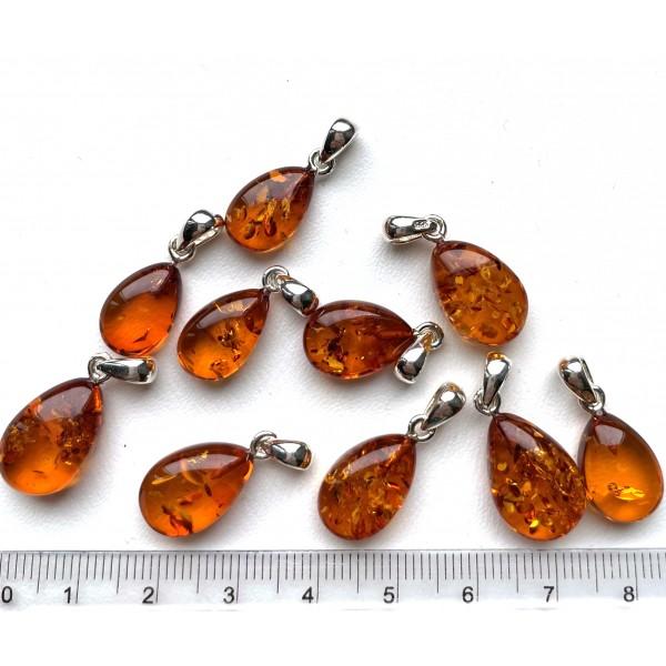 10 pcs Genuine BALTIC AMBER Silver Pendants -