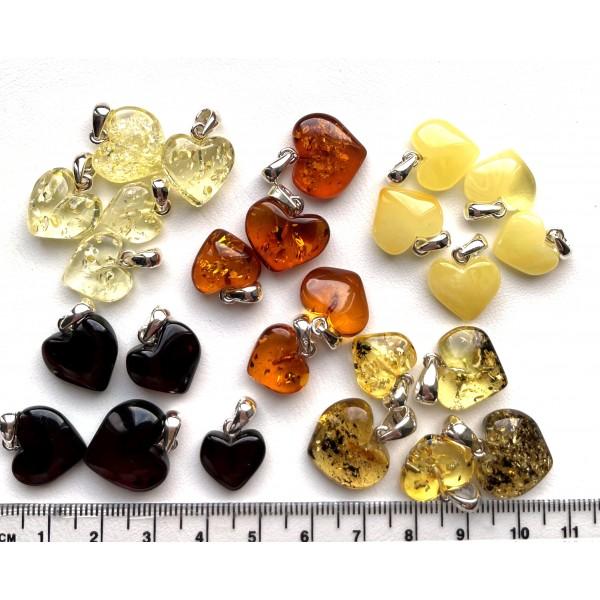 25 Small Baltic Amber Hearts Silver Pendants -