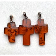 3 Amber Cross Pendants