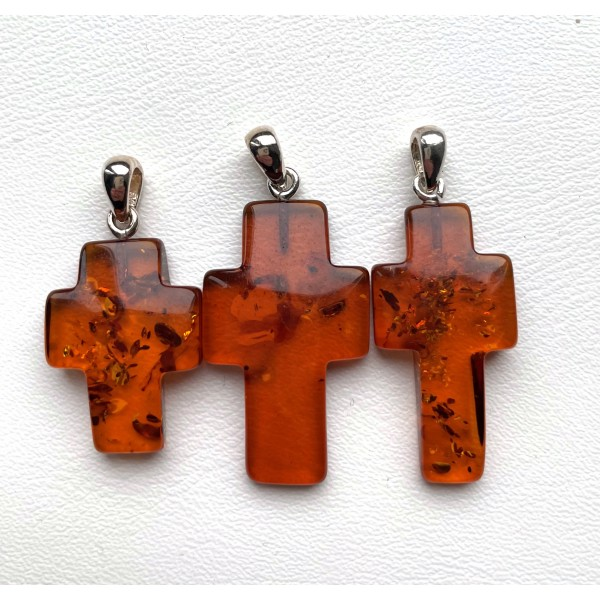 3 Amber Cross Pendants -