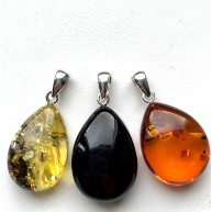3 BALTIC AMBER Drop Pendants