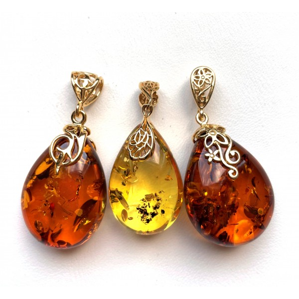 3 BALTIC AMBER Gold Plated Silver Pendants -