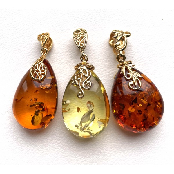 3 Genuine BALTIC AMBER Gold Plated Silver Pendants -