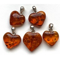 5 Baltic Amber Hearts Silver Pendants