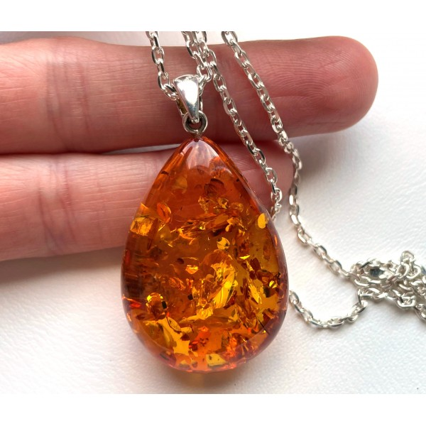 Baltic Amber Drop Pendant 9 g with Long Silver Chain -
