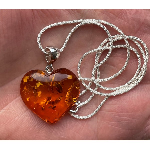 Baltic Amber Heart Pendant 925 Silver with Chain -