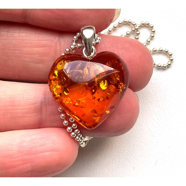 Baltic Amber Heart Pendant With Silver Chain -