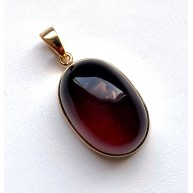 Cherry Baltic Amber Pendant in Gold Plated Silver 16 g