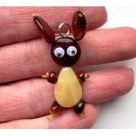 Genuine Amber Bunny Pendant for kids