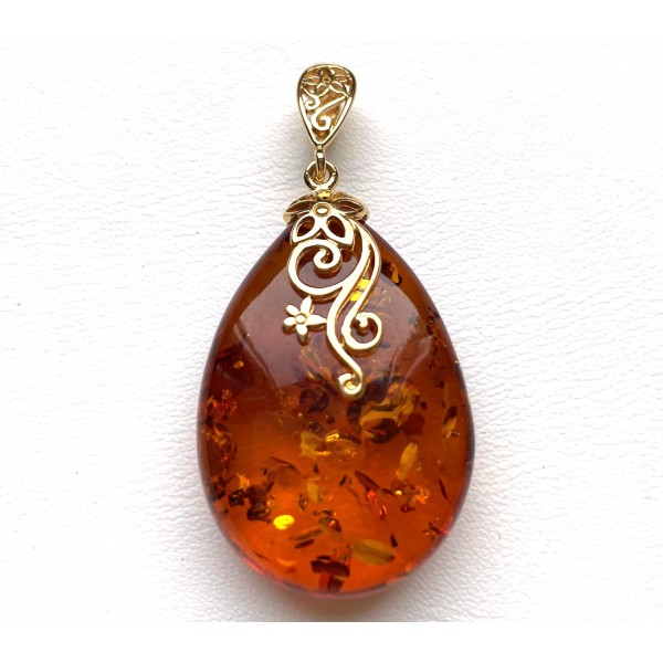 Genuine BALTIC AMBER Gold Plated Silver Pendant 8 g. -