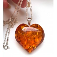 Genuine Baltic Amber Heart Pendant 14g with Long Silver Chain