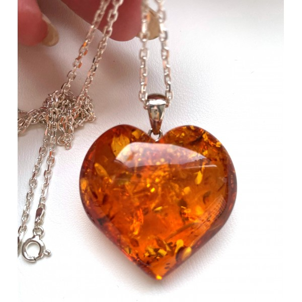 Genuine Baltic Amber Heart Pendant 14g with Long Silver Chain -