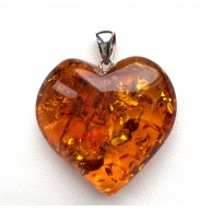 Genuine Baltic Amber Heart Pendant, Hand Made from Genuine Baltic Amber 11g