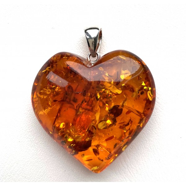 Genuine Baltic Amber Heart Pendant, Hand Made from Genuine Baltic Amber 11g -