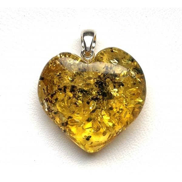 Genuine Baltic Amber Heart Pendant, Hand Made from Genuine Baltic Amber 5,5 g -