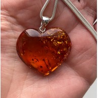 Genuine Baltic Amber Heart Pendant With Silver Snake Chain