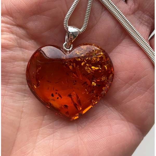 Genuine Baltic Amber Heart Pendant With Silver Snake Chain -