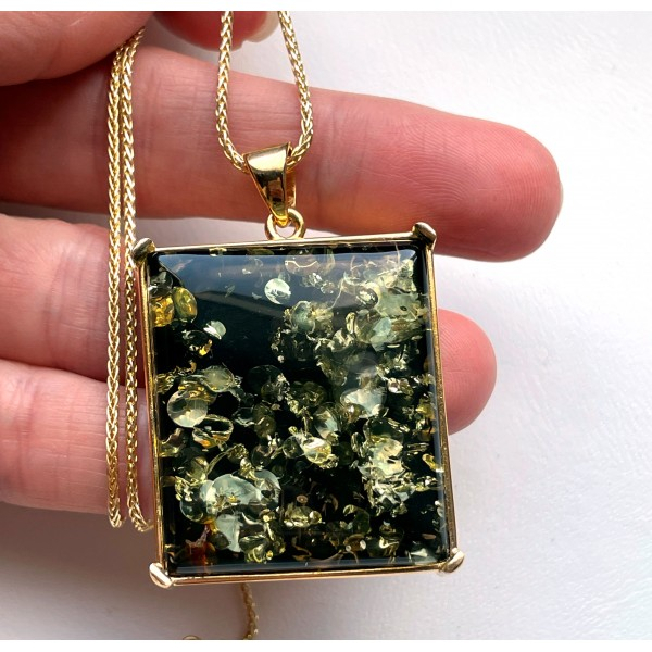 Green color Baltic Amber Pendant in Gold Plated Silver -