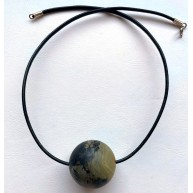 Large Healing Amber Round Bead Pendant on a Leather Cord