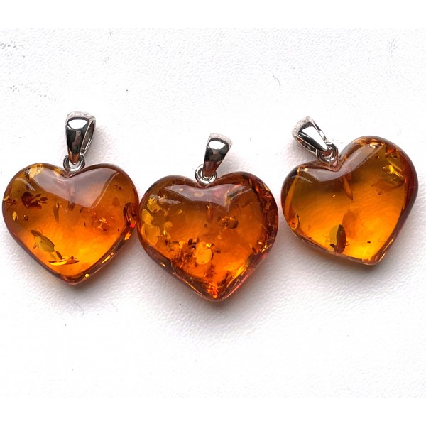 Lot of 3 Baltic Amber Hearts Silver Pendants -