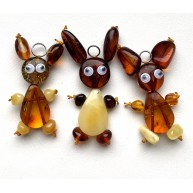 Lot of 3 Bunny Amber Pendants, Baltic Amber Children Pendants