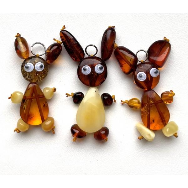 Lot of 3 Bunny Amber Pendants, Baltic Amber Children Pendants -
